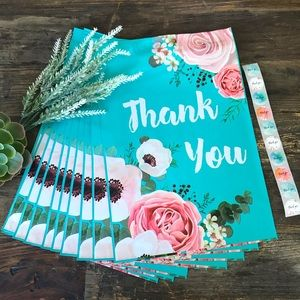 """FLORAL Teal Thank You Poly Mailer (10) - 10x13"""""""